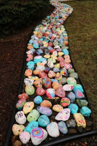 Kindness Rocks in the courtyard at Yacolt Primary
