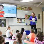 Melanie Walter leads Captain Strong Primary third graders in a bullying prevention lesson