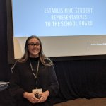 Student rep Sidnie Boadwine at the WSSDA Conference