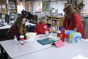 Students and staff volunteer at a blood donation drive