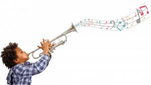 child playing trumpet