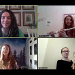 Tukes Valley Middle School band teacher Alison Pierce teaches an ensemble via Zoom