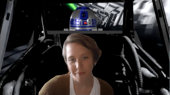 Hillary Betzen with her Star Wars Zoom background