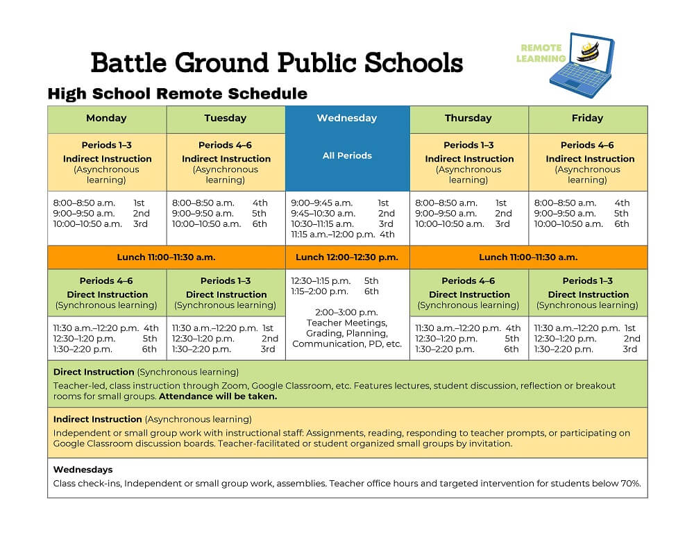 High School Remote Learning Schedule