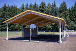 Covered play area and basketball hoop