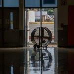 Industrial fan in a gym doorway