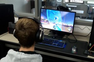 student playing video game